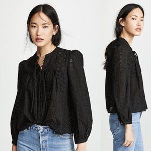 Madewell NWT Eyelet Double-Tie Peasant Top Black s